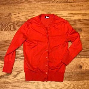 Orange J. Crew 3/4 sleeve cardigan